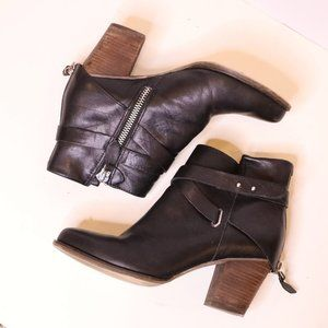 Wishbone Collection Black Leather Moto Boots Sz 9